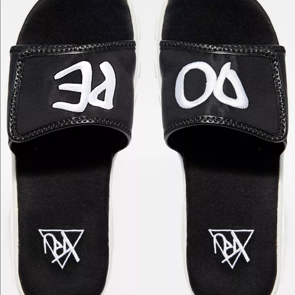 475e0d86b2a DOPE black white YRU slides mules slip on slippers